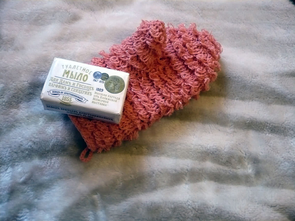 Вязание крючком мочалка рукавица 75