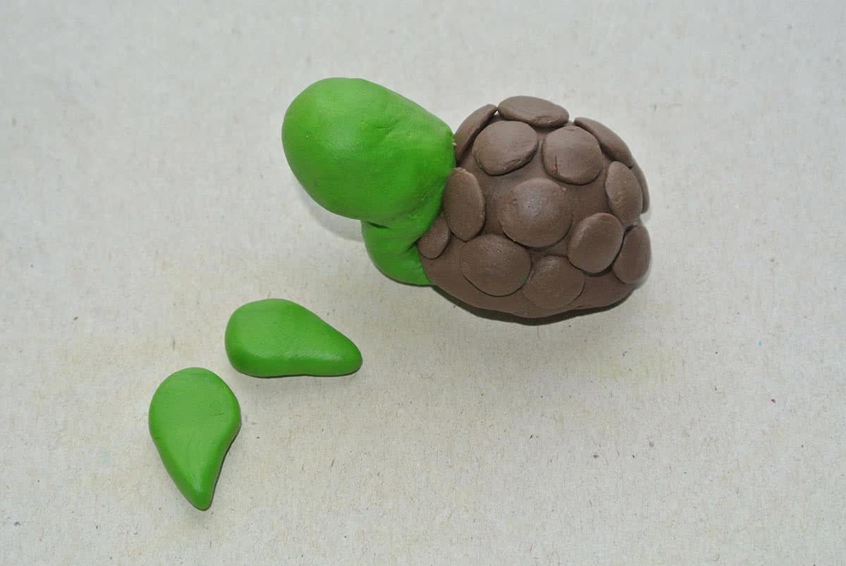 Лепим передние плавники черепахи