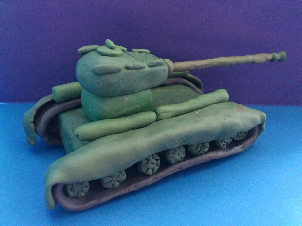 Лепка танка из пластилина