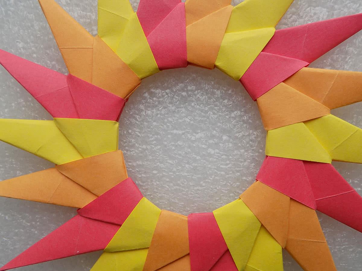 Солнце оригами шаг 10