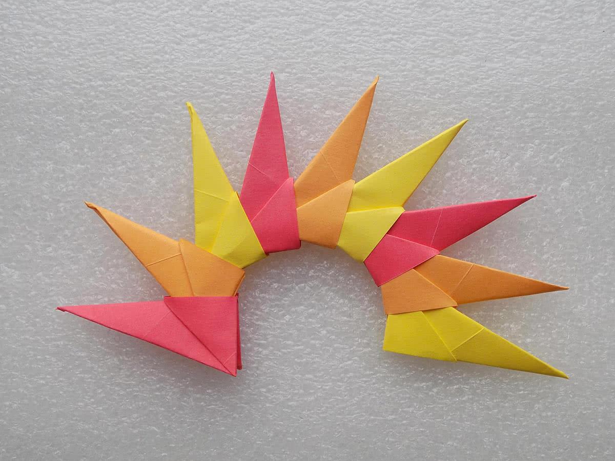 Солнце оригами шаг 9