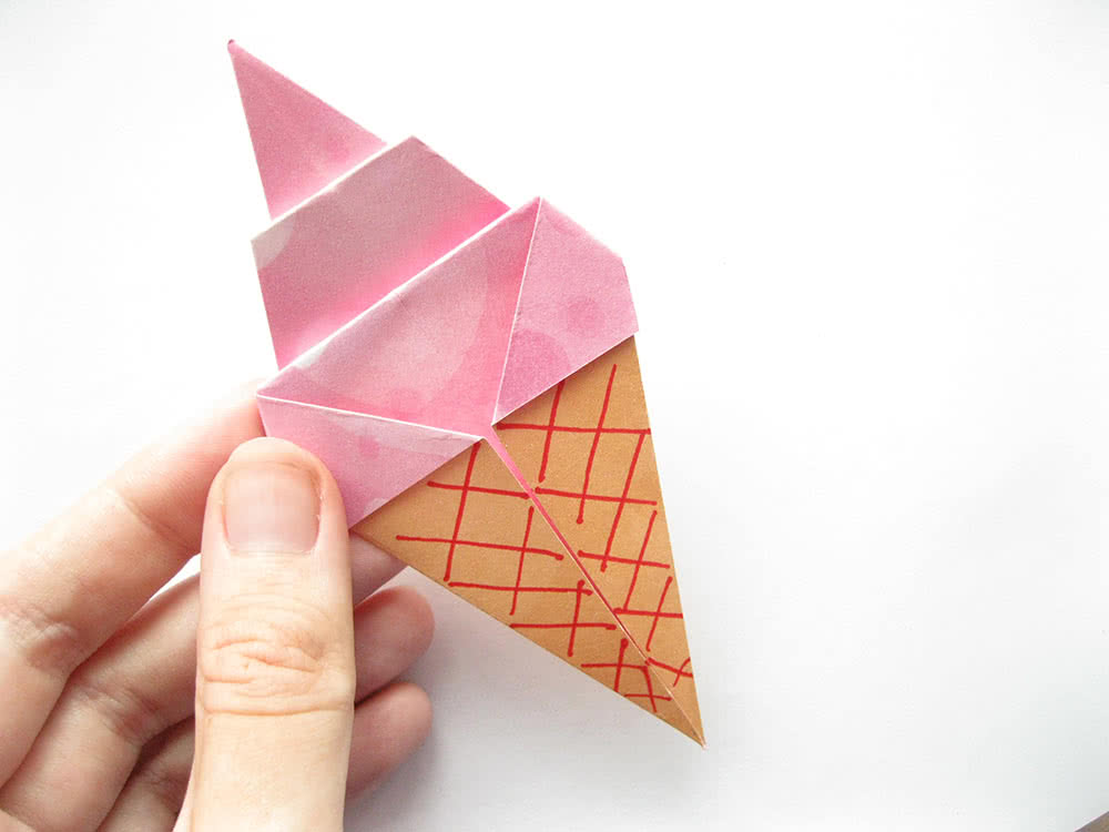 Мороженое оригами готовый результат