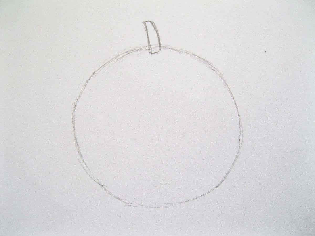 Рисунок помидора этап 1