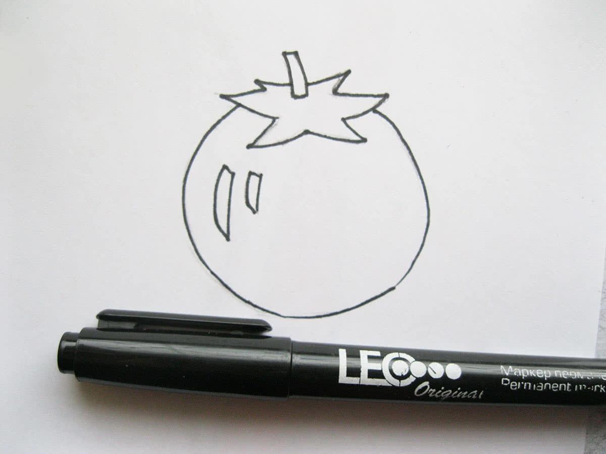 Рисунок помидора поэтапно