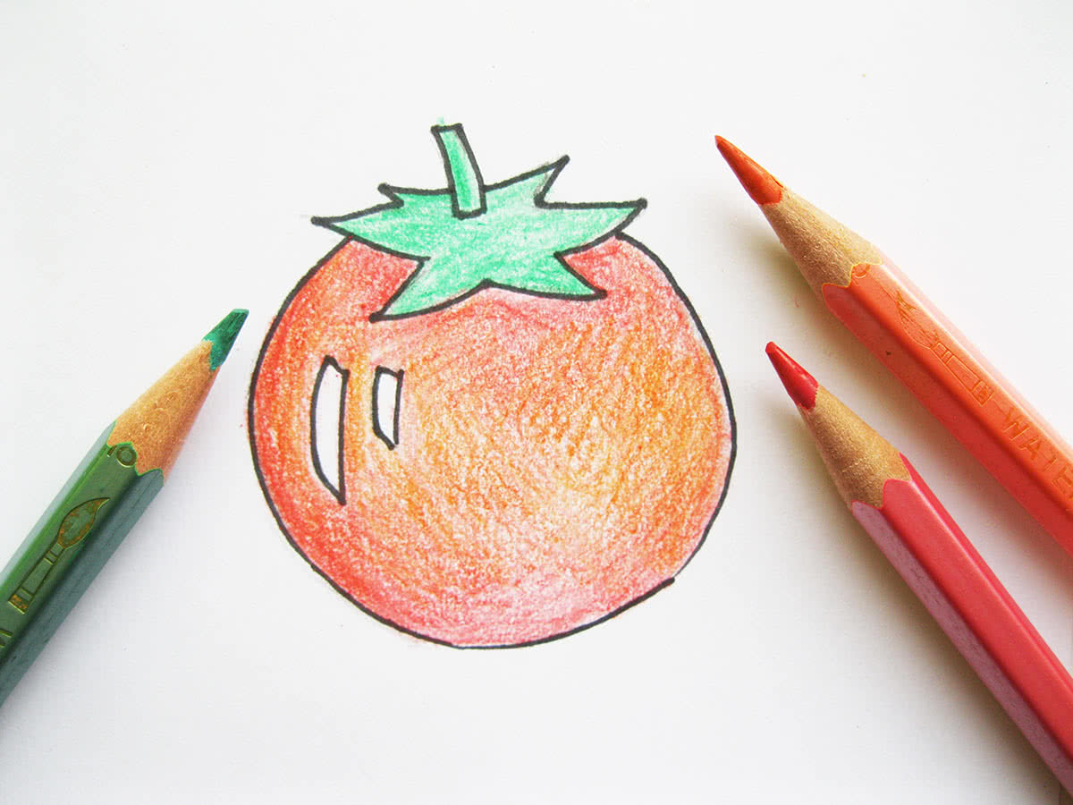 Помидор цветными карандашами