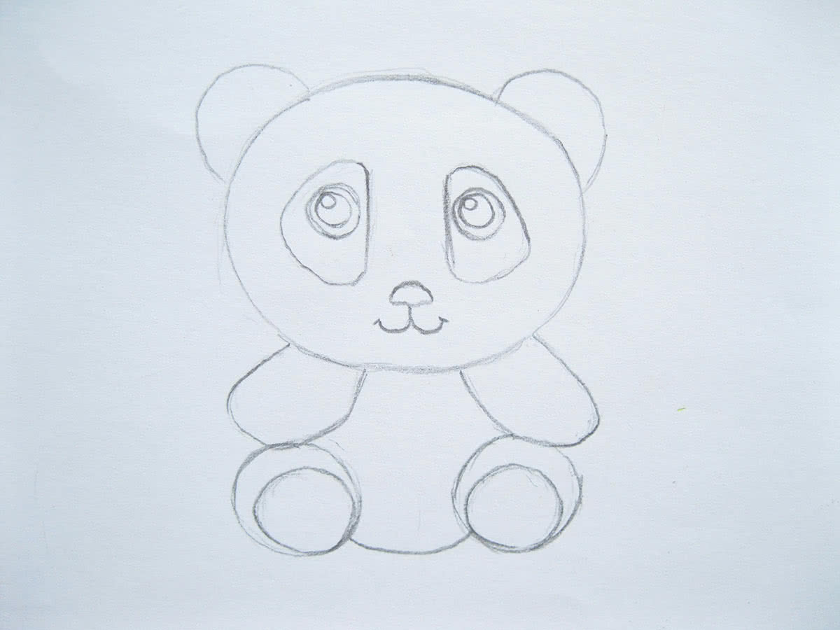 Рисуем панду поэтапно