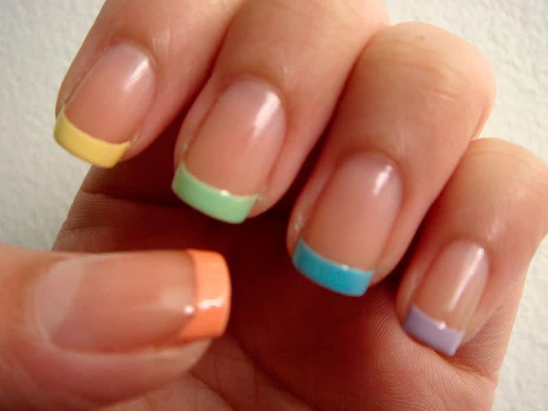 Френч ногтей разных цветов 77