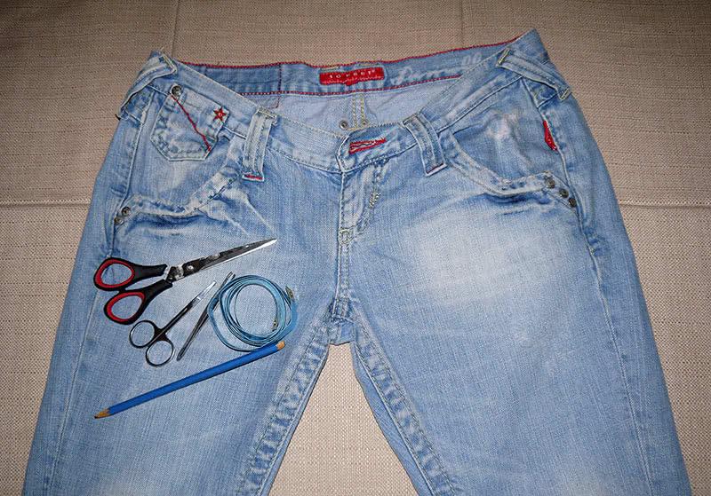Материалы для пошива шорт из старых джинсов фото