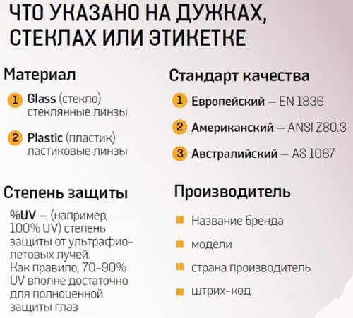 Информация на этикетке очков