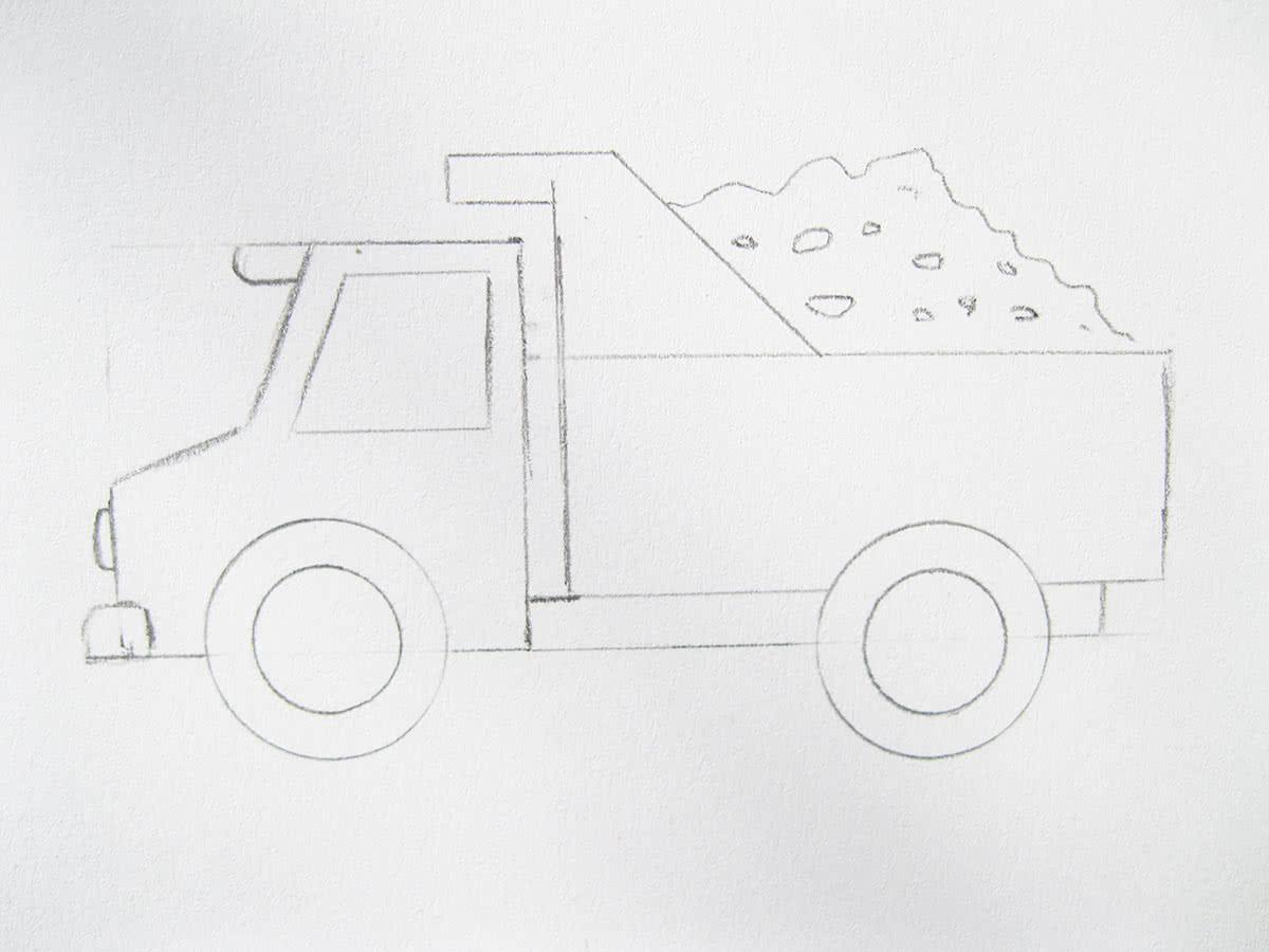 Как нарисовать грузовую машину самосвал