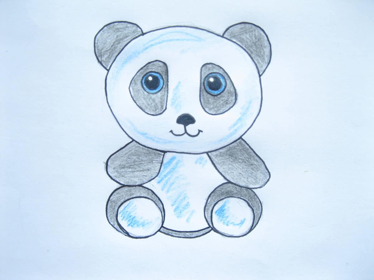 Рисунок панды карандашами
