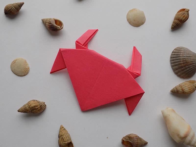 Оригами краб из бумаги