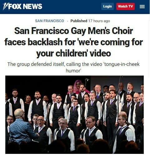 Хор гомосексуалистов из Сан-Франциско исполнил песню «Мы идем за вашими детьми». А теперь они говорят, что пошутили.